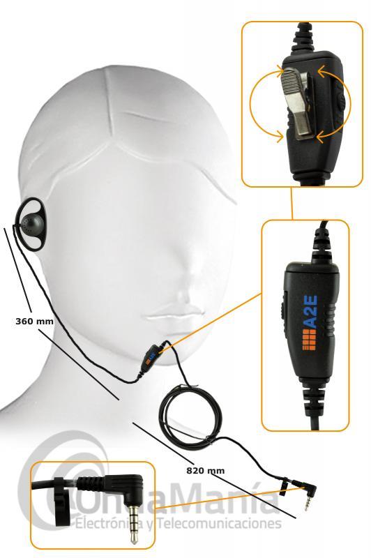 INTRA-AURICULAR EXTERIOR CON MICROFONO Y PTT - Micrófono auricular A2E exterior con un robusto cable para portatiles Yaesu Tipo al VX-110, VX-150, VX-2, VX-3, FT-60, VX-246, VX-351,...