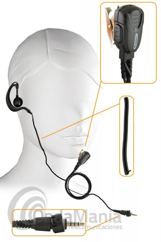 PINGANILLO JETFON JR-3601D COMPATIBLE CON KENWOOD TK-3601D - Pinganillo Jetfon JR-3601D compatible con el Kenwood  TK-3601D, dispone de un auricular con clip metálico y giratorio, el auricular tiene sujeción para el oído y cable rizado para darle más fortaleza.