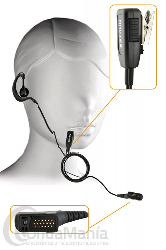 PINGANILLO PARA AIRBUS TPH900 TETRAPOL NAUZER PIN229-TPH900 - El pinganillo Nauzer PIN229-TPH900 es compatible con el AIRBUS TPH-900 TETRAPOL, es un micrófono auricular profesional de alta gama, muy robusto y resistente, esta reforzado con cable de Kevlar, para evitarla rotura por tirones. Dispone de un clip metálico giratorio detrás del micrófono. El auricular lleva cable rizado y un soporte de oreja engomado y blando para mayor comodidad y es válido para las dos orejas. El micrófono lleva un PTT o botón para pulsar y hablar discreto y manejable, está dotado de una capsula de alta calidad.