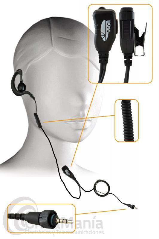 PINGANILLO CON MICROFONO Y AURICULAR CON CABLE RIZADO SARI-TK-3601 - El Sari-TK-3601 es un pinganillo con un auricular ergonómico giratorio con cable rizado con un micrófono con clip de solapa compatible con los Kenwood TK-3601