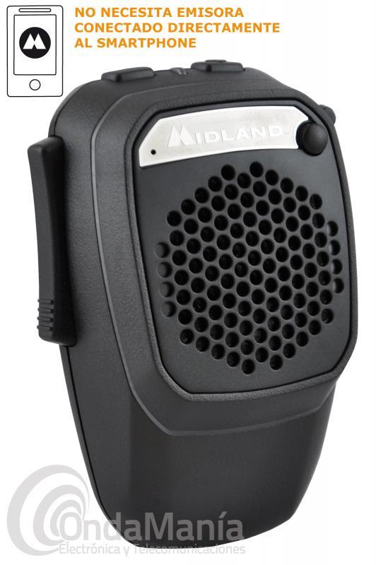 MIDLAND DUAL MIKE WIRELESS MICROFONO COMPACTO PARA RX/TX SIN LIMITE DE DISTANCIACON APP CB-TALK - El Midland Dual Mike Wireless es un micrófono compacto que nos permite recibir y transmitir sin límite de distancia combinando la APP CB TALK , gracias a su altavoz de 3 W podemos convertirlo en un verdadero manos libres, conectado a un smarphone a través de Bluetooth podemos gestionar llamadas telefónicas.