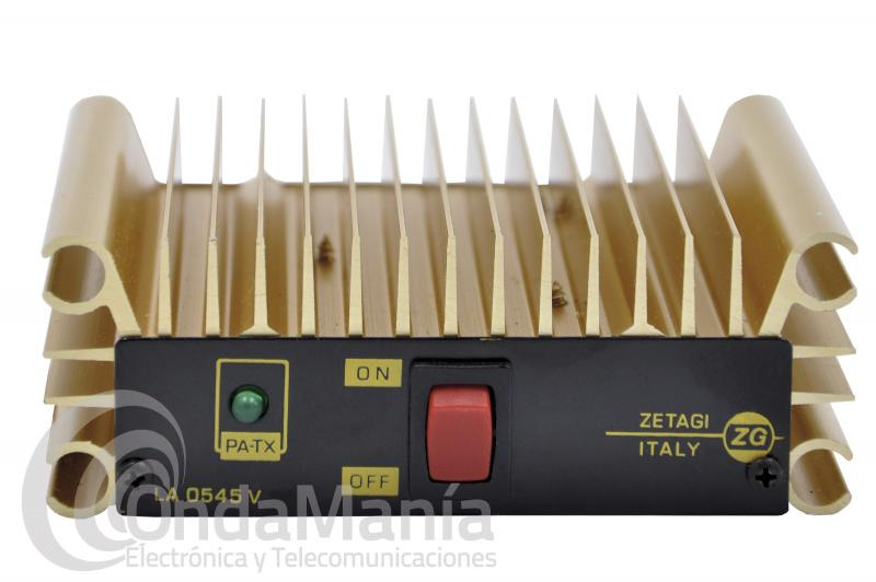 AMPLIFICADOR ZETAGI LA0545V DE VHF DE 140 A 170 MHZ CON 45 W FM, 12 VCC