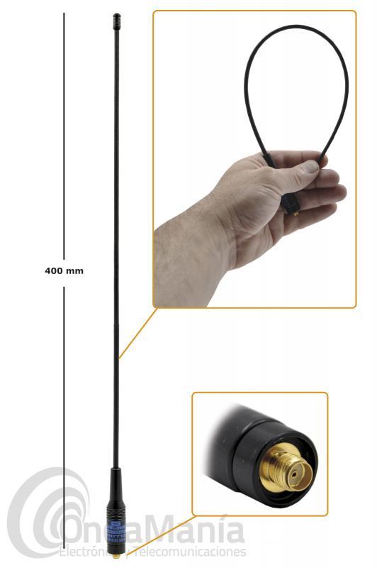 ANTENA DOBLE BANDA VHF-UHF D-ORIGINAL DX-771-SMAF / DX-RH-771S CON CONECTOR SMA HEMBRA - FEMALE