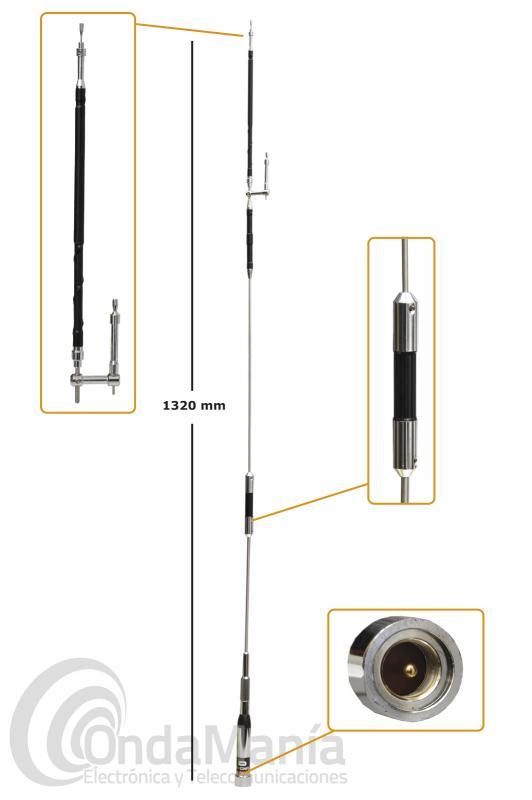 ANTENA MOVIL D-ORIGINAL DX-UHV-4 DE 6 - 10 M + 144 + 430 MHZ ABATIBLE CON 132 CM Y CONECTOR PL