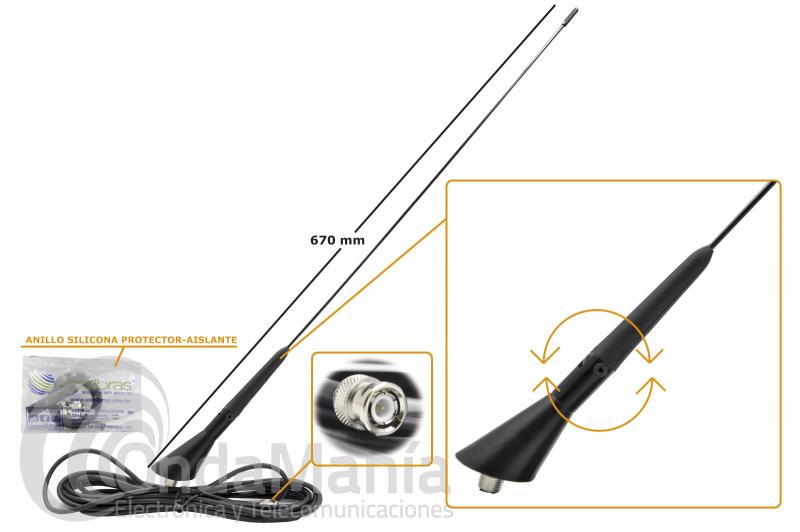 ANTENA STEELBRAS AP-31686 MOVIL TIPO GOLF ARTICULADA AJUSTABLE OARA VHF O UHF