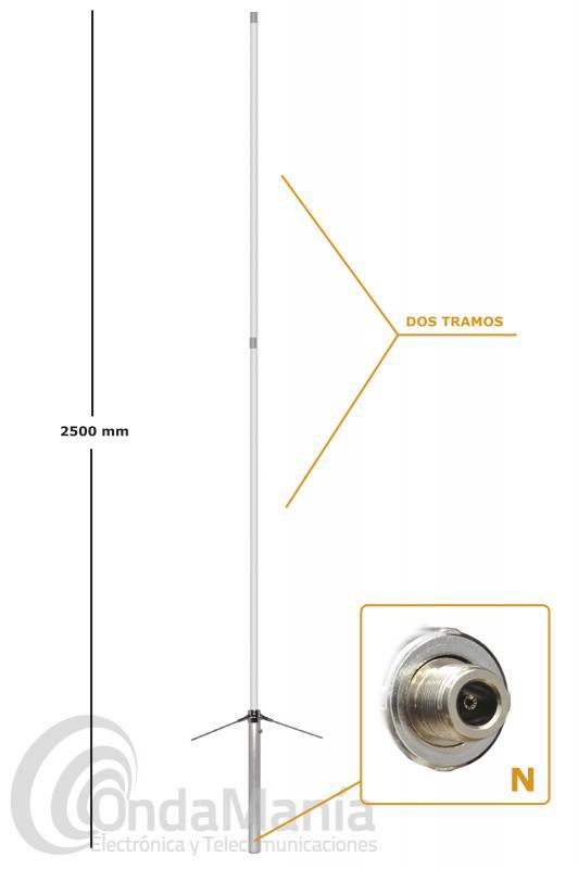 ANTENA DE BASE JS-X-200 DOBLE BANDA VHF/UHF