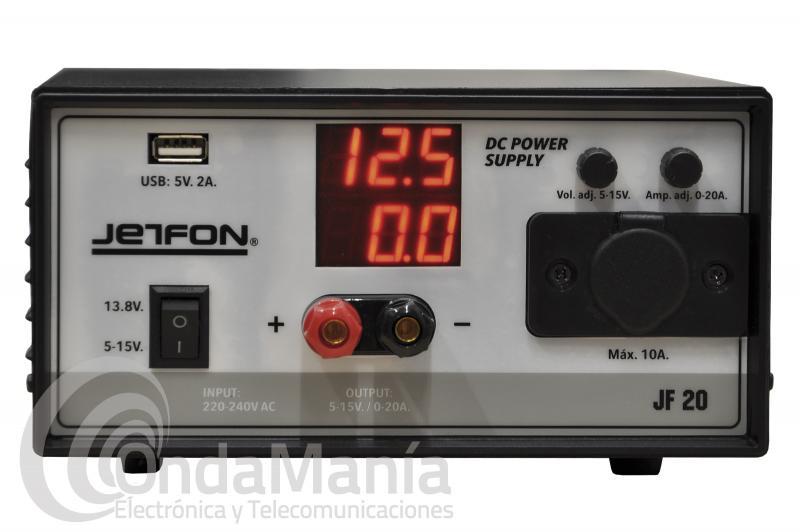 FUENTE DE ALIMENTACION JETFON JF-20 REGULABLE DE 5 A 15 VCC Y 20 AMP. DE PICO