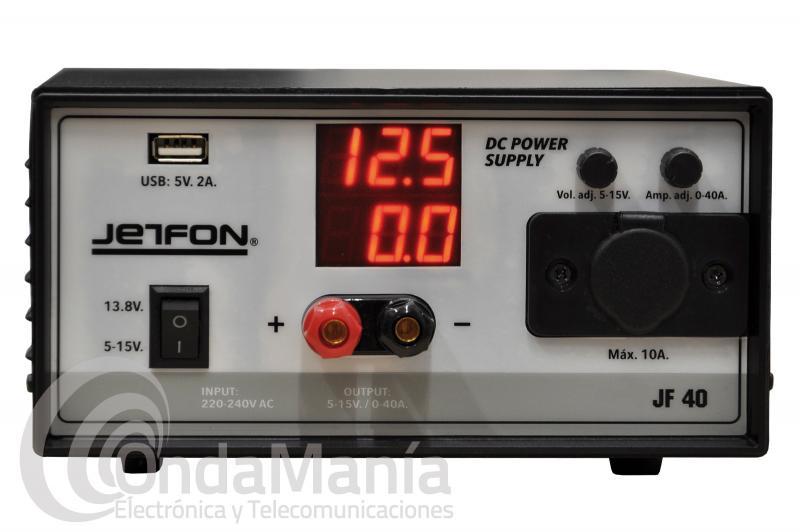 FUENTE DE ALIMENTACION JETFON JF-40 REGULABLE DE 5 A 15 VCC Y 40 AMP. DE PICO