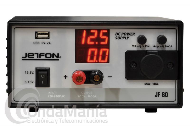 FUENTE DE ALIMENTACION JETFON JF-60 REGULABLE DE 5 A 15 VCC Y 60 AMP. DE PICO
