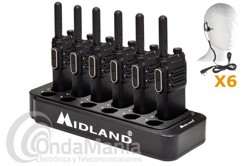 PACK DE 6 WALKIES DE USO LIBRE PMR-446 MIDLAND BR-03 +  CARGADOR MULTIPLE + PINGANILLOS DE REGALO - Pack múltiple de 6 unidades del walkie de uso libre PMR-446 Midland BR-03 con multicargador de sobremesa que nos permite cargar simultáneamente 6 walkies BR-03 +  6 baterías de repuesto, el Midland BR-03 es el modelo superior de la linea BIZTALK Business Radio de Midland. Dispone de una pantalla oculta de LED con brillo ajustable, función VOX, Roger Beep, escáner, anuncio por voz, ahorro de batería,..