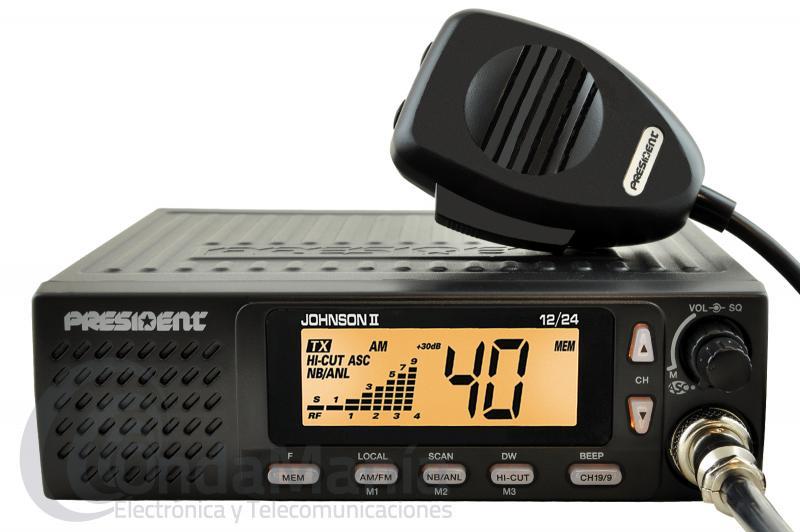 PRESIDENT JOHNSON II ASC EMISORA DE 27 MHZ (24/12V) BANDA CIUDADANA CON MULTI-NORMAS EUROPEAS - Emisora de 27 Mhz, con 40 canales, AM/FM,  ASC Squech automático, altavoz frontal, subida y bajada de canales desde el micrófono, multi-normas Europeas, gran pantalla multi-función, voltaje 24/12  búsqueda de canales (scan),...