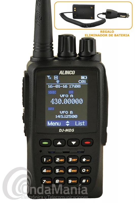 ALINCO DJ-MD5EGP WALKI DOBLE BANDA DIGITAL DMR, GPS+ELIMINADOR DE BATERIA DE REGALO