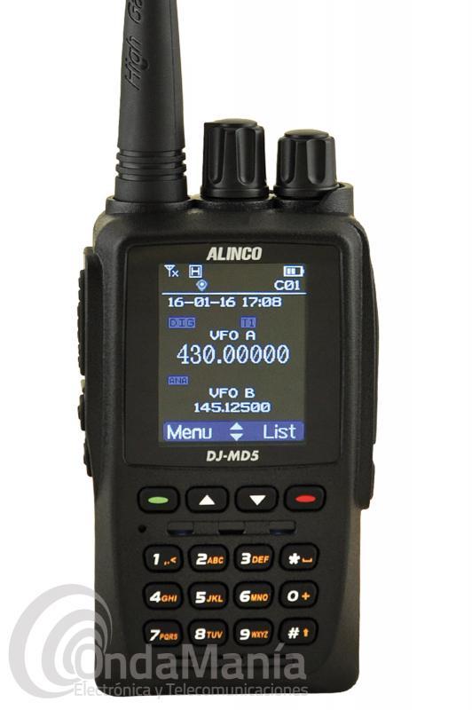 ALINCO DJ-MD5 WALKI DOBLE BANDA UHF/VHF, DIGITAL DMR CON GPS INTEGRADO,...+ PINGANILLO DE REGALO - El Alinco DJ-MD5 es un walky doble banda VHF/UHF Digital DMR compacto y manejable, es el DMR más pequeño del mercado, incluye GPS integrado, DMR Tier I y Tier II, 5 W de salida de potencia, se puede programar a través del VFO sin necesidad de usar un PC, pantalla LCD a color,...