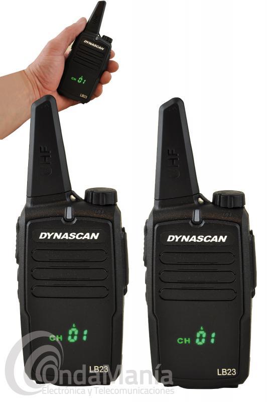 PAREJA DE WALKIE TALKIES DYNASCAN LB23 PMR-446 DE USO LIBRE CON PANTALLA OCULTA - Los walkie talkies Dynacan LB23 son una pareja de PMR-446 de uso libre de reducido tamaño, disponen de un display frontal oculto (tecnología Hidden),  disponen de hasta 199 canales programables, su recepción es de gran calidad, indicación por voz, bloqueo acústico, reducido tamaño, batería de Ion-litio con 1000 mAh y cargadores de sobremesa individuales.