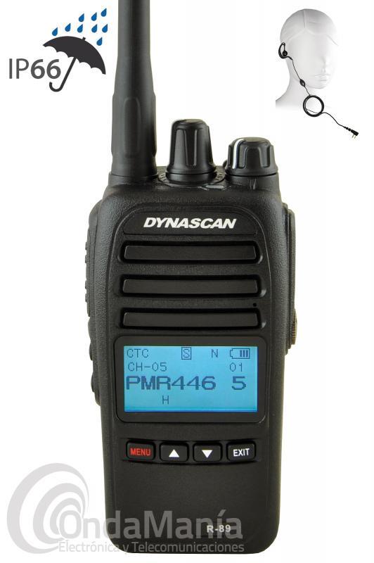 WALKIE TALKIE PMR-446 DE USO LIBRE DYNASCAN R-89 CON PINGANILLO DE REGALO - El walkie talkie PMR-446 de uso libre Dynascan R-89 es un equipo portátil muy robusto, incluye batería de Ion-Litio de larga duración con 2600 mAh y 7,4V, cargador rápido de sobremesa, dispone de un gran display LCD retroiluminado, tonos CTCSS y DCS, función VOX, escáner de canales, secrafonia-scrambler, cumple con la norma IP66 contra polvo y agua proyectada,...