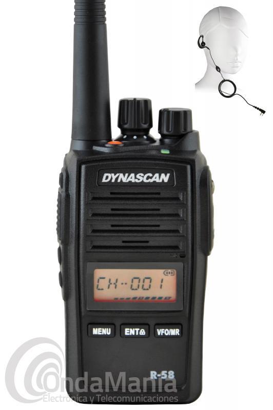DYNASCAN R-58 PMR PROFESIONAL DE USO LIBRE CON RECEPTOR DE RADIO FM + PINGANILLO DE REGALO
