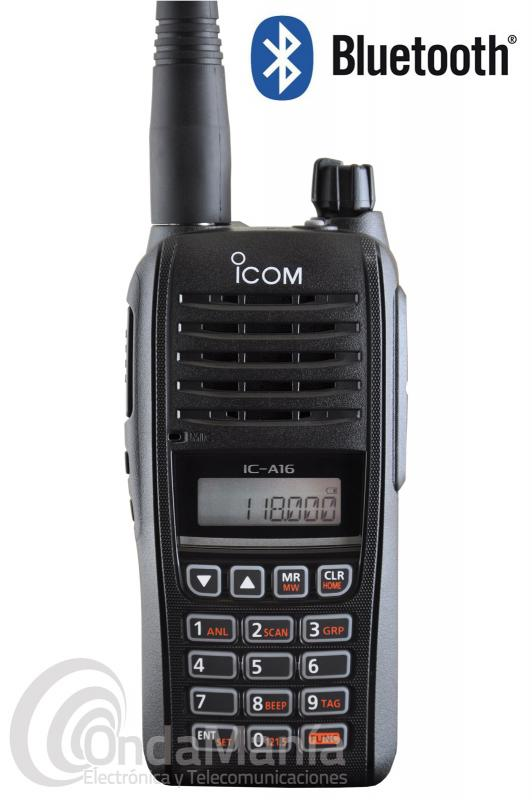 BLACK FRIDAY - ICOM IC-A16E#12 CON BLUETOOTH WALKI VHF BANDA AEREA IP67, 6 W, CON 8,33 Y 25 KHZ,...