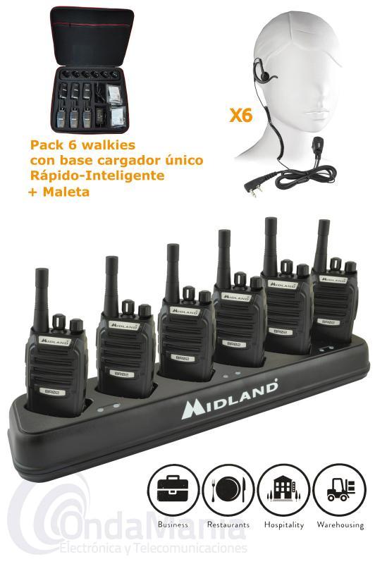 PACK COMPUESTO POR UNA MALETA DE 6 PMR MIDLAND BR-02 + 1 CARGADOR MULTIPLE + 6 PINGANILLOS - Pack compuesto por una maleta con 6 PMR-446 Midland BR-02 de uso libre con 1 cargador múltiple inteligente con 6 bañeras y 6 pinganillos originales Midland para los walkies BR-02.