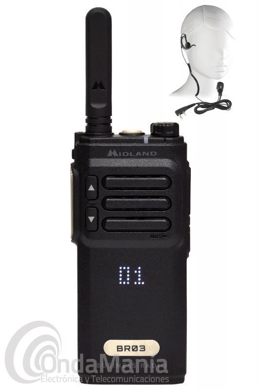 WALKIE DE USO LIBRE PMR-446 MIDLAND BR-03 BIZTALK BUSINESS RADIO + PINGANILLO DE REGALO - Walkie de uso libre PMR-446 Midland BR-03, con una certificación IPX2 , incluye batería y cargador rápido de sobremesa con posibilidad de cargar el walky y una batería adicional a la vez, el Midland BR-03 es el modelo superior de la linea BIZTALK Business Radio de Midland. Dispone de una pantalla oculta de LED con brillo ajustable, función VOX, Roger Beep, escáner, anuncio por voz, ahorro de batería,..