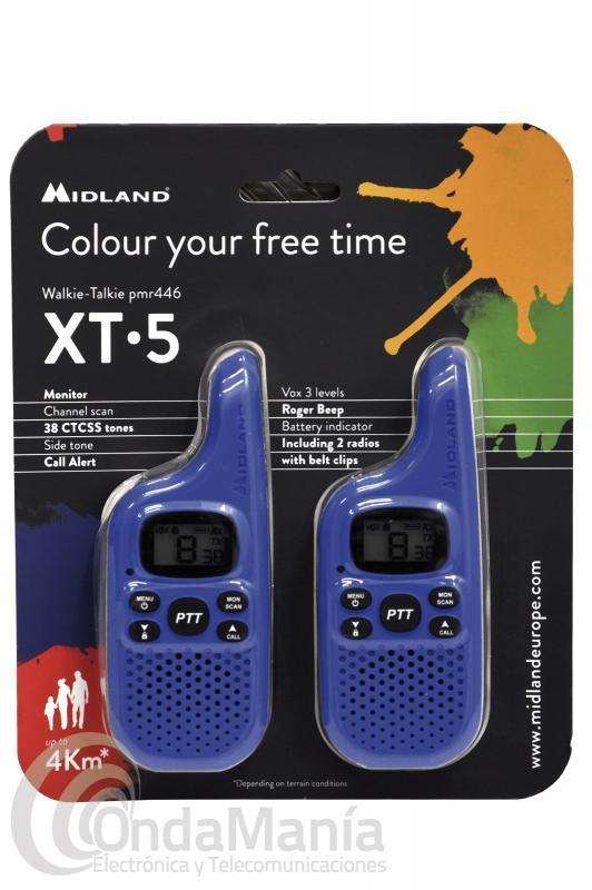 MIDLAND XT-5 PACK COMPUESTO DE 2 MINI WALKIES PMR-446 DE COLOR AZUL