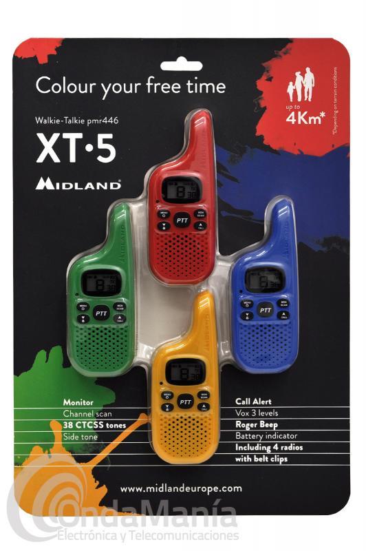 MIDLAND XT-5 QUADRAPACK COMPUESTO DE 4 MINI WALKIES PMR-446 DE COLORES DIFERENTES
