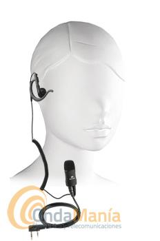 TELECOM/KOMUNICA JD-2402K MICRO-AURICULAR NOISE CANCELING - Micrófono auricular (pinganillo) profesional con norma IP54 con auricular intercambiable negro y con cable rizado y soporte para la oreja, el micrófono dispone cancelación de ruido. Compatible con: Kenwood, Dynascan, Alan, Baofeng, Wouxun, Team, HYT, Intek y cualquier otra marca que utilice conmutación tipo Kenwood.