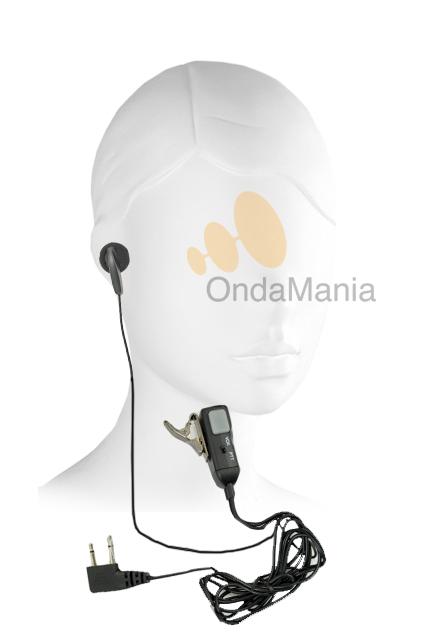 MICRO-AURICULAR MIDLAND MA-28L  - Micrófono auricular Midland MA-28L con pinza metálica en el micrófono y conmutador VOX/PTT.