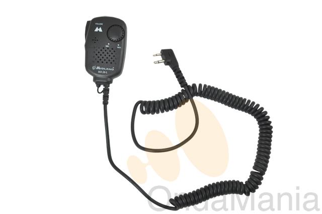 MICRO ALTAVOZ MIDLAND MA-26L - Micrófono altavoz con conector de 2 pins a 90º.