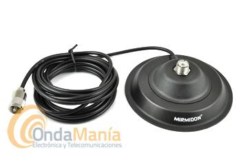 BASE MAGNETICA MIRMIDON BM-150 - Base magnética con un diámetro de 150 mm aprox. conector PL hembra y 4,5 mts de cable RG-58 y un conector PL macho en su extremo.