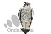 BUHO CON MOVIEMIENTO EN LAS ALAS - Búhos de plástico ideales para espantar y ahuyentar a los pájaros que se posan en los elementos de las antenas tipo yagui, tiene una longitud de 59 cm.