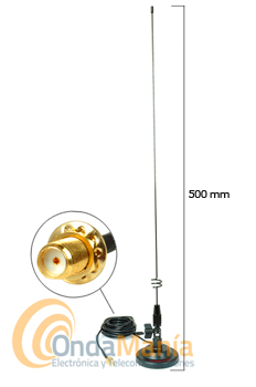 MR-75SJ ANTENA DIAMOND MAGNETICA DOBLE BANDA ORIGINAL CON SMA INVERTIDO - Antena doble banda VHF/UHF (144 MHz y 430 MHz) magnética con rotula orientable y conector SMA invertido, ideal para los walkys fabricados en China.
