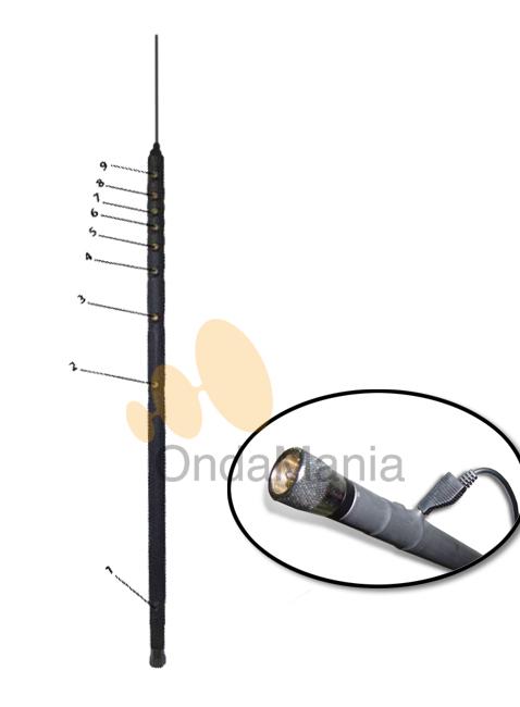 OUTBACK 2000 - La Outback 2000 es una antena móvil 9 bandas HF + 6m; de alta potencía 200 W. con conector PL.