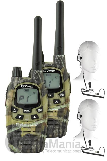 PACK DUO MIDLAND G7 PRO MIMETIC+PINGANILLOS MIDLAND DE REGALO - Pack Duo Midland G-7 PRO Mimetic esuna radio con GRANDES prestaciones.El Pack Duo Midland G-7 Mimetic incluye: 2 radios, 2 cargadores de pared, 8 pilas recargables Ni-MH AA 1.2V/1800 mAh, 2 clips de enganche para cinturón, 2 pinganillos y manuales de usuario.