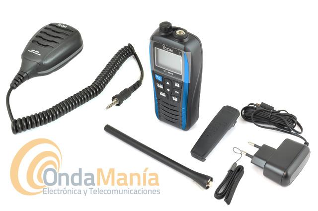 ICOM IC-M25 EURO AZUL + MICROFONO ALTAVOZ ICOM HM-213 IPX7 - Pack compuesto por un micrófono altavoz Icom HM-213 + walki Icom IC-M25 Euro, equipo portátil ligero, esbelto, de altas prestaciones, con cargador tipo USB micro-B,  autonomía de hasta 11 horas, gran LCD, flota al caer al agua y dispone de un led que destella, resistente al agua IPX7,....