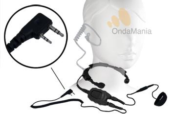 PC-LG02 (0592) LARINGOFONO PROFESIONAL DOBLE CON AURICULAR ACUSTICO Y DOBLE PTT - PC-LG02 Laringófono doble con auricular acústico transparente de silicona, el laringófono incluye dos PTT y es para walki-talkys Kenwood y para el Midland Alan CT-200, CT-210, Kirisum y algunos modelos de Dynascan.