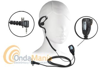 MICROFONO-AURICULAR SEPURA SRP-2000 - SARI, micro-auricular para Sepura SRP-2000 / 3000 / 301500 / 3800, con PTT de solapa, orejera tipo PY-29 y cable rizado. Versión 1 tornillo.