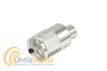 CONECTOR PL DE ALTA CALIDAD PARA RG-58 Y SIMILARES, VERSION PLATEADO