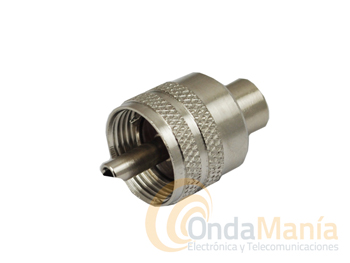 PL MACHO DE TEFLON PARA RG-58 SOLDAR - Conector PL de Teflon con reductor para cable RG-58. Conector para soldar.
