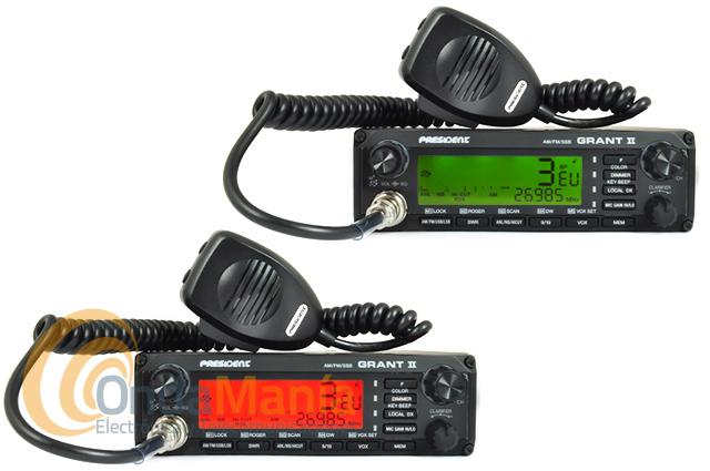 PRESIDENT GRANT II ASC EMISORA CB - Transceptor de banda ciudadana 27 MHz con AM, FM y banda lateral USB y LSB, incluye VOX integrado, escáner de memorias y canales, su gran LCD aparte de tener un gran smeter nos indica el canal y la frecuencia.