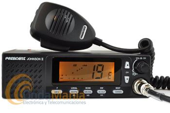 PRESIDENT JOHNSON II ASC 12/24V EMISORA BANDA CIUDADANA CON MULTI-NORMAS EUROPEAS+REGALO MPB-6000 - Emisora de 27 Mhz, con 40 canales, conexión a 12 y 24VAM/FM, ASC Squech automático, altavoz frontal, subida y bajada de canales desde el micrófono, multi-normas Europeas, gran pantalla multi-función, búsqueda de canales (scan),...+ regalo compresor arrancador de coche President MPB-6000