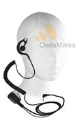 TELECOM PY-29TA - Micro auricular ergonómico con cable rizado de color negro disponible para walky talkys Motorola serie PMR. (Uso libre)