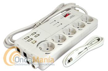 AXIL EL0154E BASE DE PROTECCION CON 5 TOMAS MASTER+TV+TLFNO+USB - Master Protección, base protectora con 5 tomas de corriente, 4 puertos USB 2.0, base de teléfono, tomas de TV, función Master que desconecta y conecta los periféricos al conectar y desconectar su PC