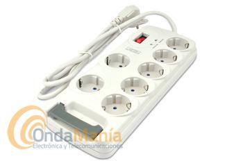 AXIL EL0170E BASE DE PROTECCION CON 7 TOMAS DE CORRIENTE - Base de protección con siete tomas de corriente, con sistema de desconexión automática en caso de sobrecargas, evita interferencias y los efectos del