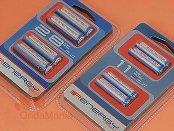 PACK DE 8 BATERIAS RECARGABLES RENERGY:  4 BATERIAS AA + 4 BATERIAS AAA - Pack de baterias compuesto por: 4 baterías AA (LR-6) con 1,2 V. y 2800 mAh. de capacidad y 4 baterías AAA de 1,2 V y 1100 mAh.