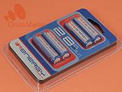 PACK DE 4 BATERIAS RECARGABLES RENERGY TIPO AA (LR-6) - Pack de 4 baterías AA (LR-6) con 1,2 V. y 2800 mAh. de capacidad.