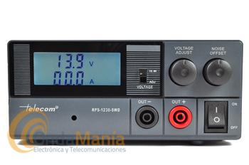 FUENTE DE ALMENTACION DIGITAL Y REGULABLE TELECOM RPS-1230SWD - Fuente de alimentación conmutada con instrumentos: amperímetro y voltímetro digital y regulable. Tiene una intensidad de 20 Amp. continuos y 30 Amp. de pico, dispone de tomas de alimentación trasera y delantera.