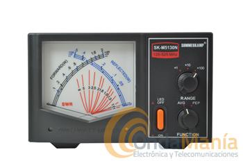 SOMMERKAMP SK-M5130N MEDIDOR DE ROE Y POTENCIA - Medidor de estacionarias y potencia de agujas cruzadas con un margen de frecuencias de 125 a 525 Mhz. con tres escalas de potencia 2, 20 y 200 W, con dos tomas traseras con conectores N.