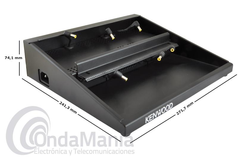 KENWOOD KMB-35 ADAPTADOR MULTICARGADOR PARA 6 KSC-35S O KSC-35SCR - Adaptador multi-cargador para 6 unidades KSC-35S, KSC-35 o KSC-35SCR (bañeras de carga no incluidas), estas bañeras las fijaremos al soporte mediante una barra de bloqueo (incluida). Con este soporte podemos cargar 6 walkys Kenwood TH-K20, TH-K40, TK-3501, TK-2000, TK-3000,... a la vez.