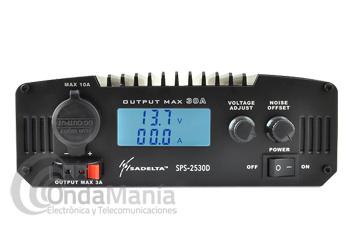 FUENTE DE ALIMENTACION SADELTA SPS-2530D - Fuente de alimentación Sadelta SPS 2530D conmutada con instrumentos: amperímetro y voltímetro digital y regulable. Tiene una intensidad de 25 Amp. continuos  y 30 Amp. de pico, dispone de toma frontal de encendedor, bornes traseros y delanteros de alimentación.