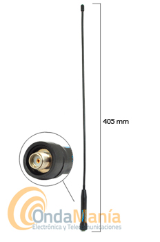 SRJF-40A ANTENA DOBLE BANDA MUY FLEXIBLE PARA TALKYS CON CONECTOR SMA INVERTIDO - Antena Diamond original doble banda 144/430 MHz extremadamente flexible con una RX ampliada 120/150/300/450/800 y 900 MHz, con conector SMA invertido, ideal para walkys fabricados en China.